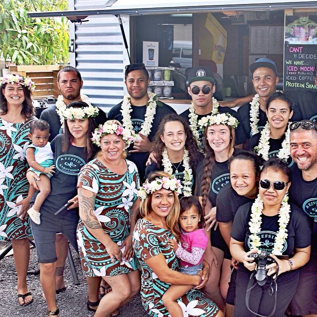 With some of the Reefside Rarotonga crew in Rarotonga. These guys are so cool & helped make our stay extra amazing. Thanks to Sharon for the pic.